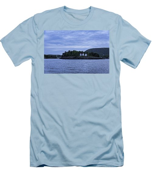 Men's T-Shirt (Slim Fit) featuring the photograph Camden Twilight N Curtis Island Light House by Daniel Hebard