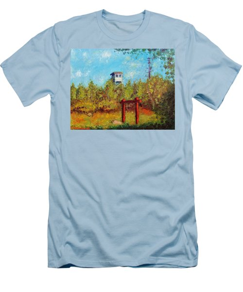 Men's T-Shirt (Slim Fit) featuring the painting Camel Top Fire Tower by Jason Williamson