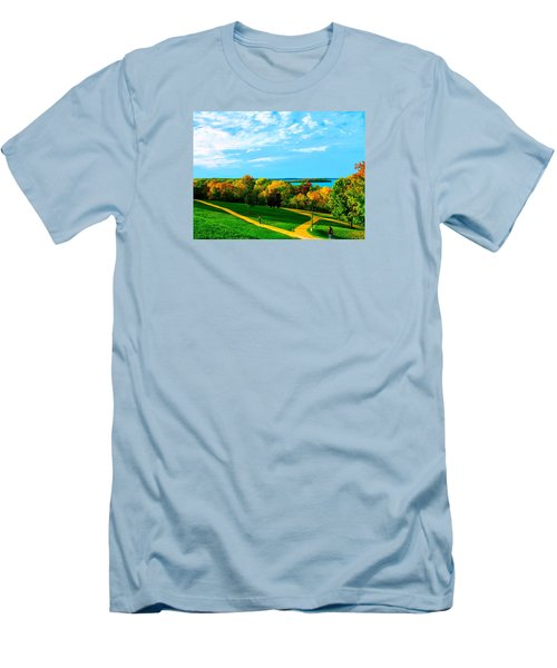 Men's T-Shirt (Slim Fit) featuring the photograph Campus Fall Colors by Zafer Gurel