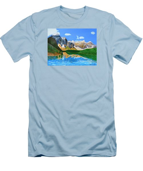 Canadian Mountains And Lake  Men's T-Shirt (Slim Fit) by Magdalena Frohnsdorff