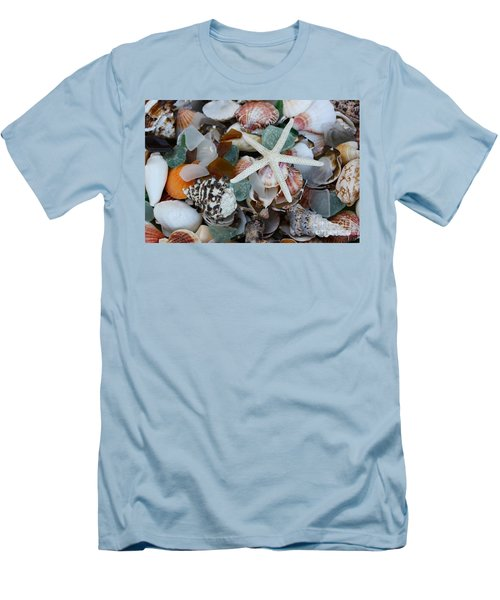 Caribbean Shells Men's T-Shirt (Slim Fit) by The Art of Alice Terrill
