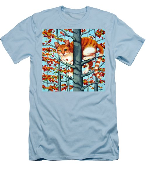 Orange Cat In Tree Autumn Fall Colors Men's T-Shirt (Athletic Fit)