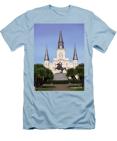 Men's T-Shirt (Slim Fit) featuring the photograph Cathedral In Jackson Square by Alys Caviness-Gober