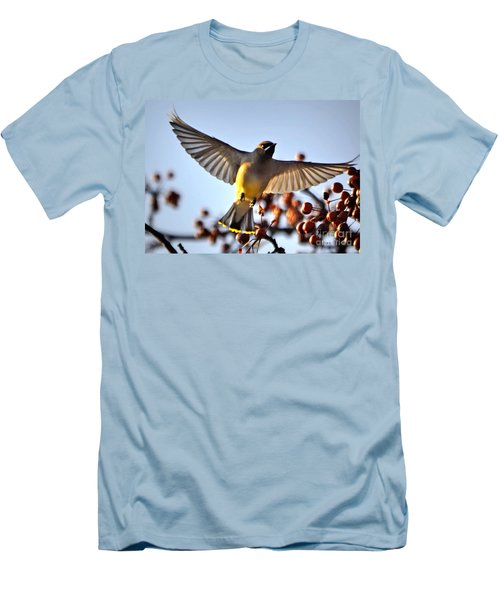 Cedar Waxwing Flight Men's T-Shirt (Athletic Fit)