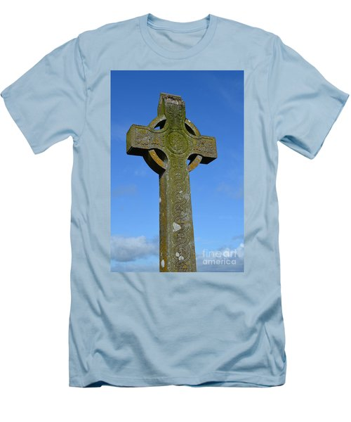 Celtic Stone Cross In Ireland Men's T-Shirt (Slim Fit) by DejaVu Designs