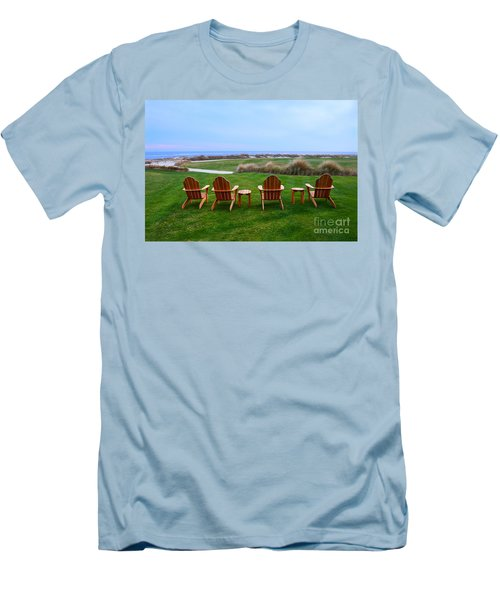 Chairs At The Eighteenth Hole Men's T-Shirt (Slim Fit) by Catherine Sherman