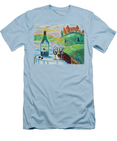 Men's T-Shirt (Slim Fit) featuring the painting Chateau Wine by Diane Pape