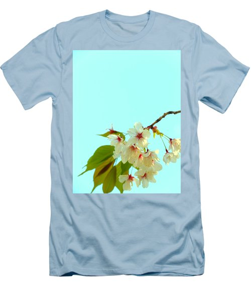Cherry Blossom Flowers Men's T-Shirt (Slim Fit) by Rachel Mirror