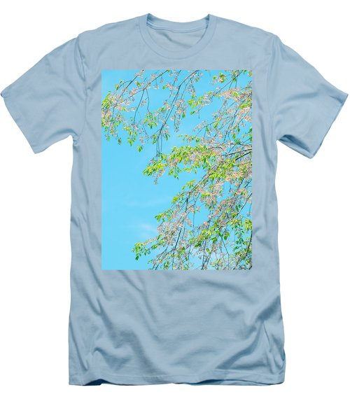 Cherry Blossoms Falling Men's T-Shirt (Slim Fit) by Rachel Mirror