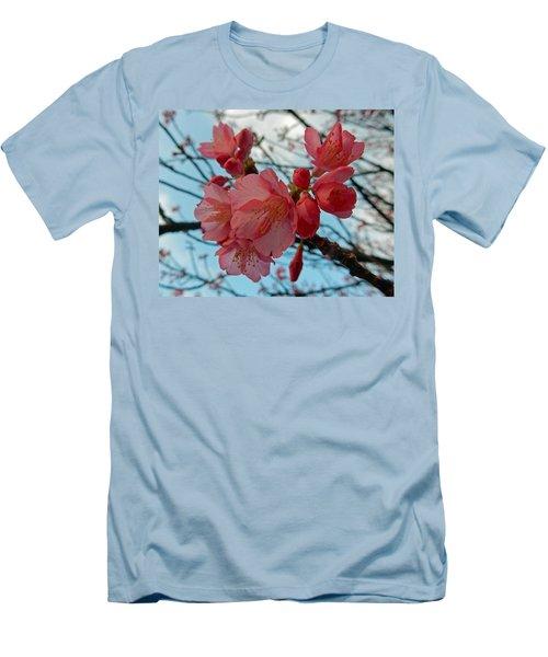 Cherry Blossoms Men's T-Shirt (Slim Fit) by Pamela Walton