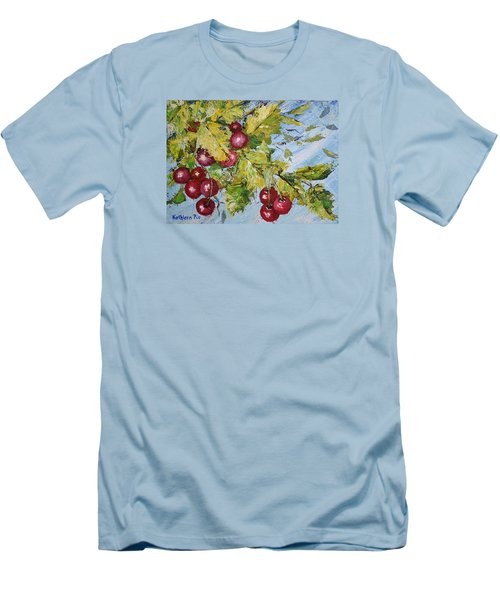 Men's T-Shirt (Slim Fit) featuring the painting Cherry Breeze by Kathleen Pio