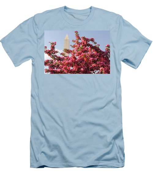 Men's T-Shirt (Slim Fit) featuring the photograph Cherry Trees And Washington Monument 5 by Mitchell R Grosky