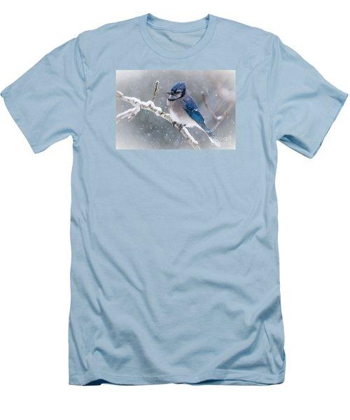 Christmas Card Bluejay Men's T-Shirt (Slim Fit) by Cheryl Baxter