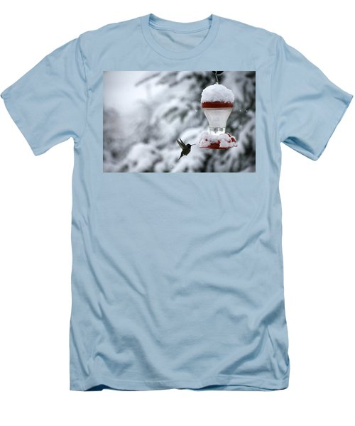 Christmas Hummingbird Men's T-Shirt (Slim Fit) by Katie Wing Vigil