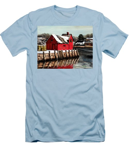 Christmas In Rockport Men's T-Shirt (Slim Fit) by Eileen Patten Oliver