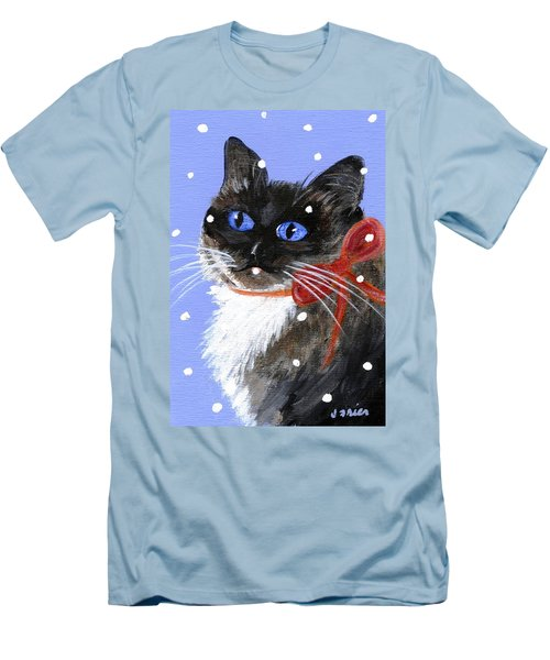 Men's T-Shirt (Slim Fit) featuring the painting Christmas Siamese by Jamie Frier
