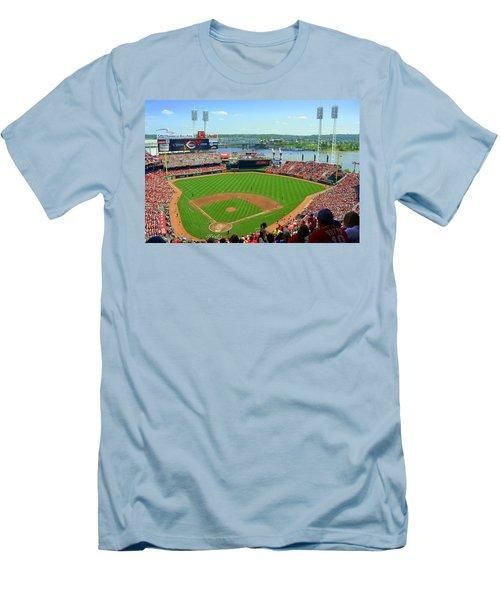 Cincinnati Reds Stadium Men's T-Shirt (Slim Fit) by Kathy Barney