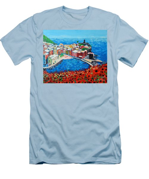 Cinque Terre Vernazza Poppies Men's T-Shirt (Slim Fit) by Ana Maria Edulescu