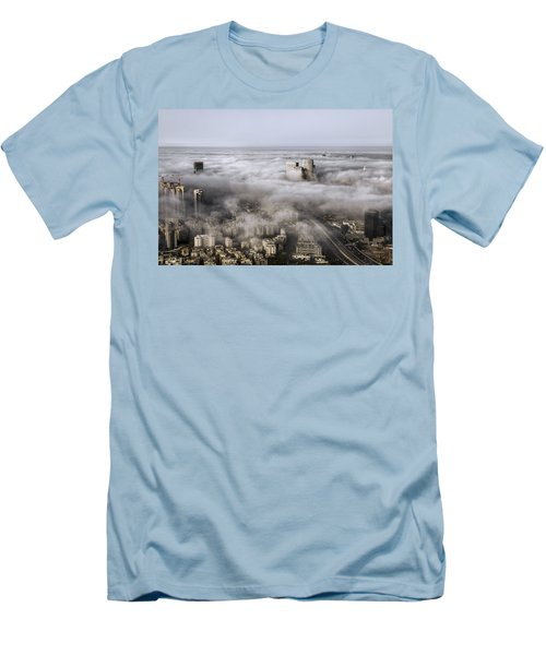 Men's T-Shirt (Slim Fit) featuring the photograph City Skyscrapers Above The Clouds by Ron Shoshani