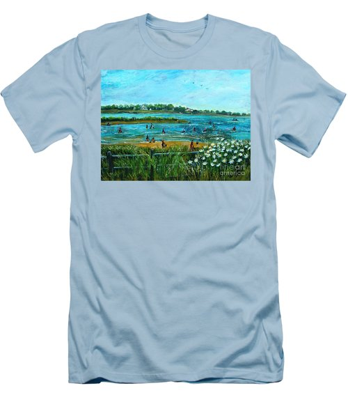 Clam Diggers At Menauhant Beach Men's T-Shirt (Slim Fit) by Rita Brown