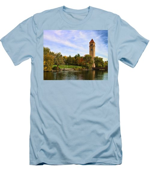 Clocktower And Autumn Colors Men's T-Shirt (Athletic Fit)