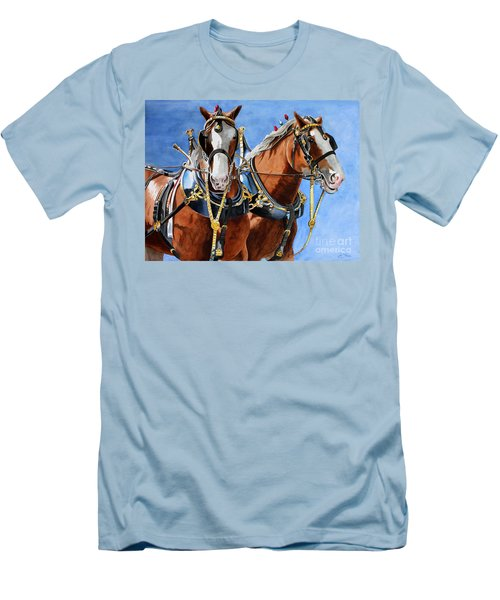 Clydesdale Duo Men's T-Shirt (Slim Fit) by Debbie Hart