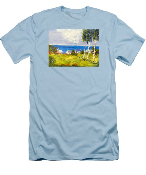 Men's T-Shirt (Slim Fit) featuring the painting Coastal Fishing Village by Pamela  Meredith