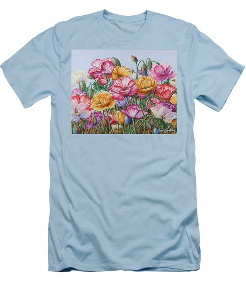 Men's T-Shirt (Slim Fit) featuring the painting Coastal Poppies by Jane Girardot