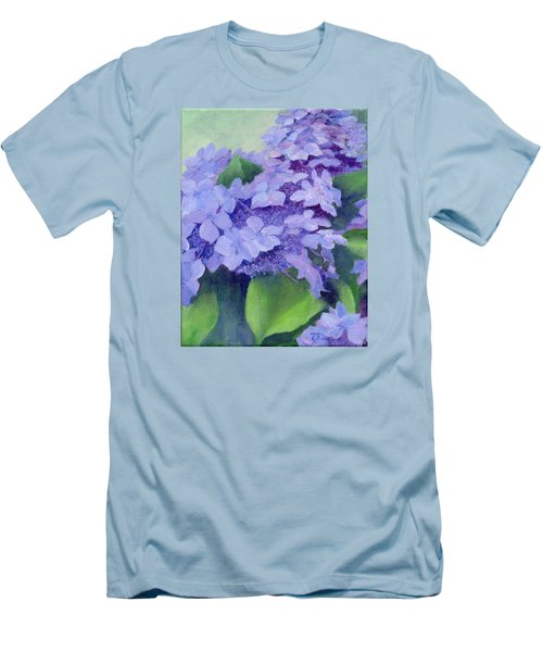 Colorful Hydrangeas Original Purple Floral Art Painting Garden Flower Floral Artist K. Joann Russell Men's T-Shirt (Slim Fit) by Elizabeth Sawyer