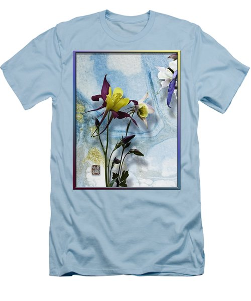 Columbine Blossom With Suminagashi Ink Men's T-Shirt (Slim Fit) by Peter v Quenter