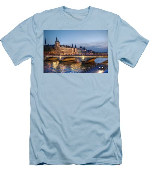 Men's T-Shirt (Slim Fit) featuring the photograph Conciergerie And Pont Napoleon At Twilight by Jennifer Ancker