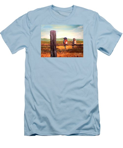 Conversation With A Fencepost Men's T-Shirt (Slim Fit) by Kimberlee Baxter