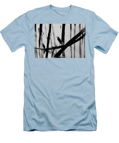 Cormorant And The Heron  Bw Men's T-Shirt (Slim Fit) by Roger Becker