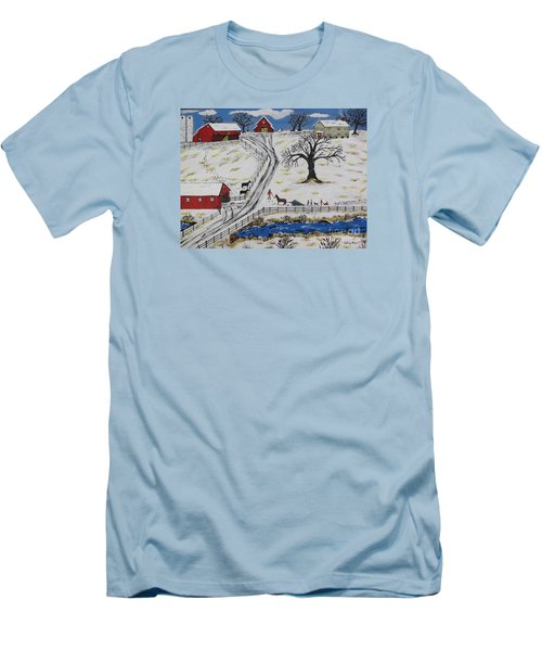 Country Christmas Tree Men's T-Shirt (Slim Fit) by Jeffrey Koss