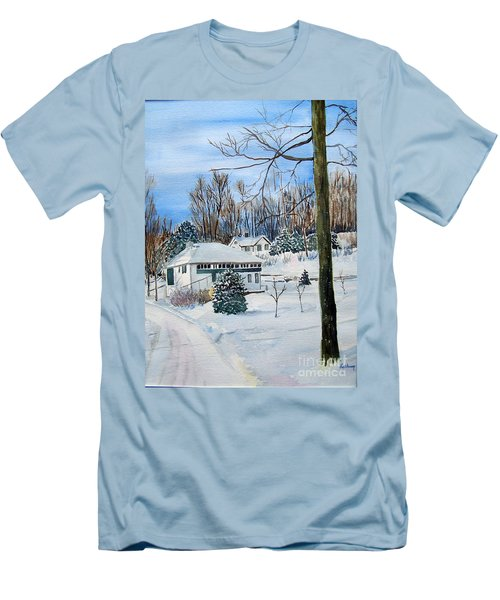 Country Club In Winter Men's T-Shirt (Slim Fit) by Christine Lathrop