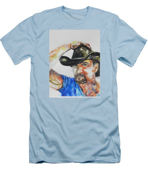 Country Singer Tim Mcgraw 02 Men's T-Shirt (Slim Fit) by Chrisann Ellis