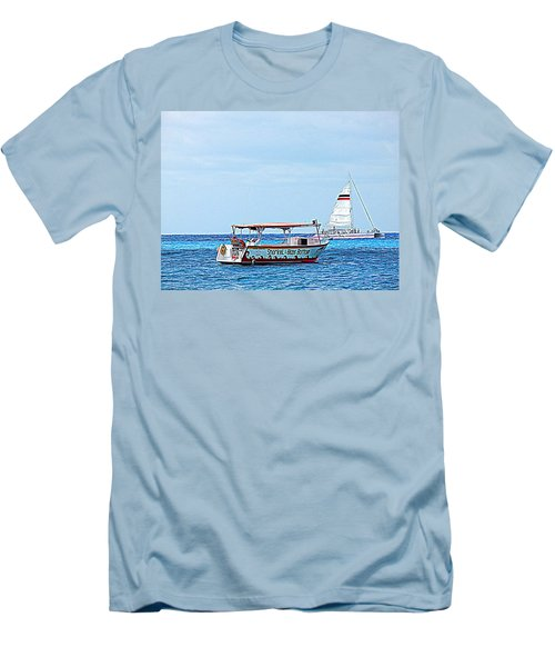 Cozumel Excursion Boats Men's T-Shirt (Slim Fit) by Debra Martz