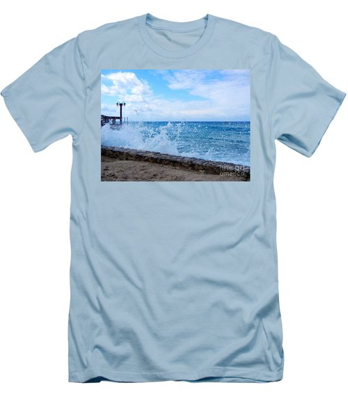 Crashing Waves In Cozumel Men's T-Shirt (Slim Fit) by Debra Martz