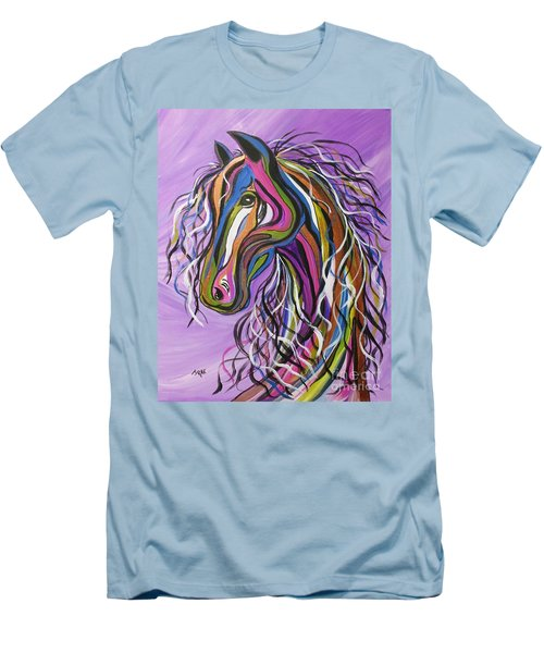 Men's T-Shirt (Slim Fit) featuring the painting Crazy Horse by Janice Rae Pariza