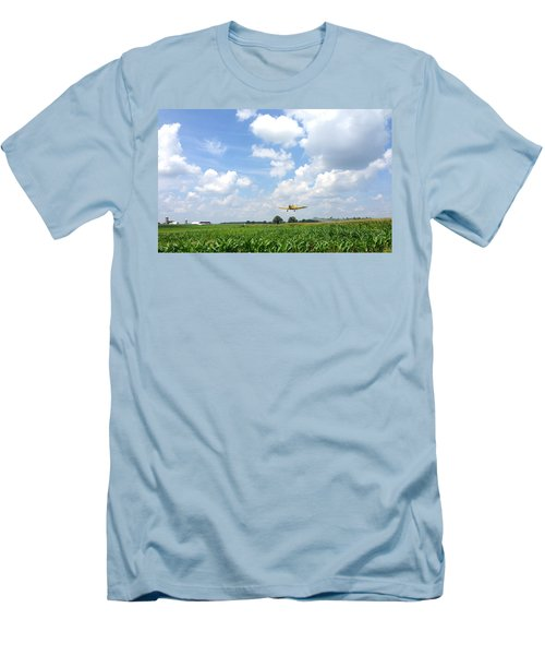 Men's T-Shirt (Slim Fit) featuring the photograph Yellow Crop Duster by Charles Kraus