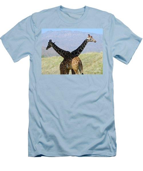 Crossed Giraffes Men's T-Shirt (Slim Fit) by Phyllis Kaltenbach
