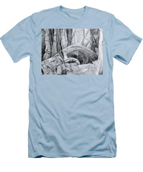 Men's T-Shirt (Slim Fit) featuring the drawing Das Monster Hat Sich Im Ungebuegelten Hintergrund Versteckt by Otto Rapp