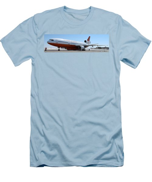 Men's T-Shirt (Slim Fit) featuring the photograph Dc-10 Air Tanker At Rapid City by Bill Gabbert