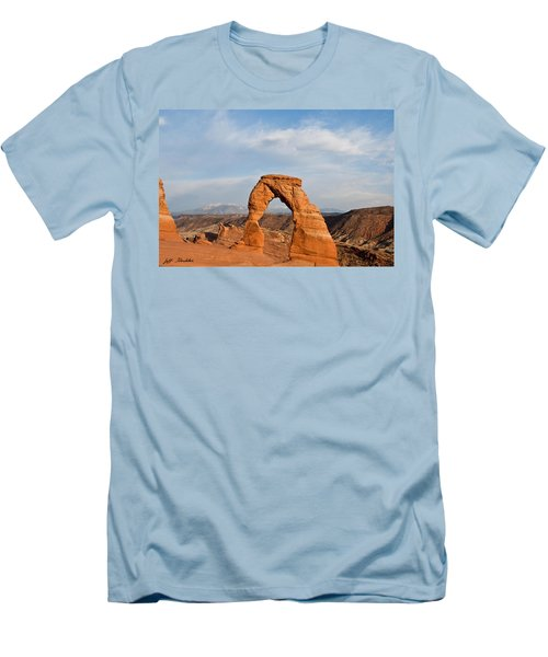 Delicate Arch At Sunset Men's T-Shirt (Slim Fit) by Jeff Goulden