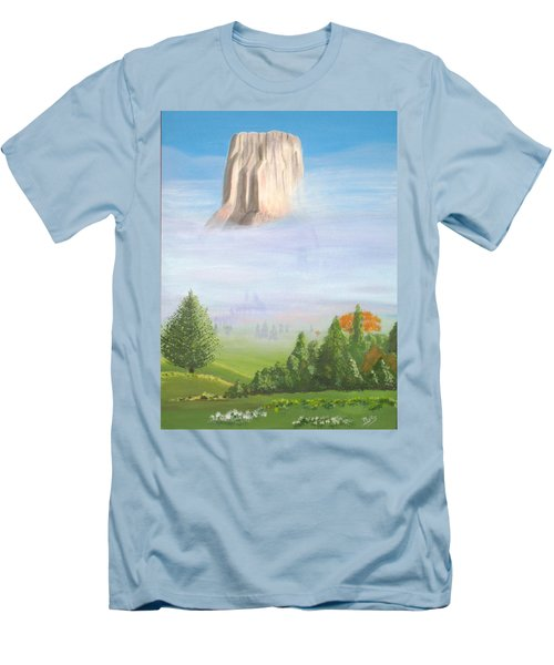 Men's T-Shirt (Slim Fit) featuring the painting Devil's Tower  by Phyllis Kaltenbach
