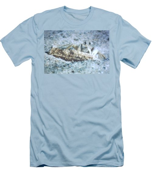 Men's T-Shirt (Slim Fit) featuring the photograph Beach Crab Snacking by Belinda Lee