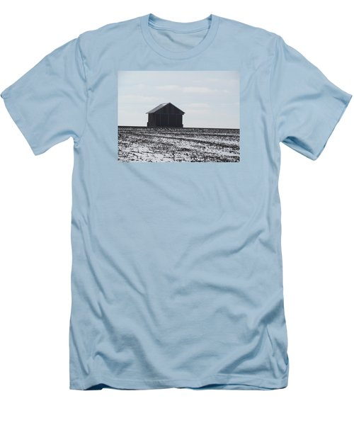 Men's T-Shirt (Slim Fit) featuring the photograph Distant Local Train Depot by Tina M Wenger