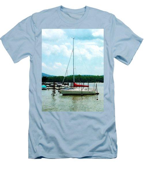 Docked On The Hudson River Men's T-Shirt (Slim Fit) by Susan Savad