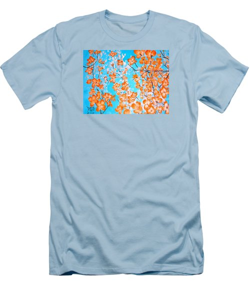 Men's T-Shirt (Slim Fit) featuring the painting Dogwoods by Donna Dixon