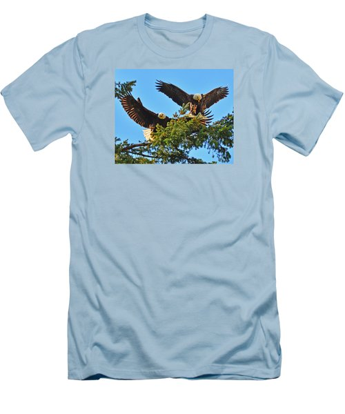 Men's T-Shirt (Slim Fit) featuring the photograph Double Landing by Jack Moskovita